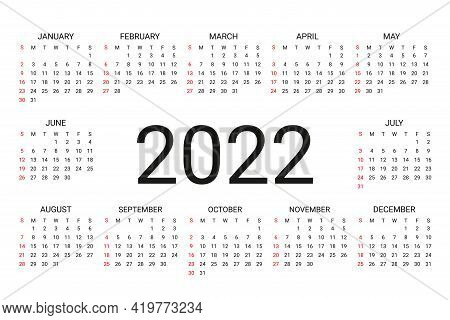2022 Calendar. Week Starts Sunday. Simple Yearly Template Of Pocket Or Wall Calenders Stationery Yea