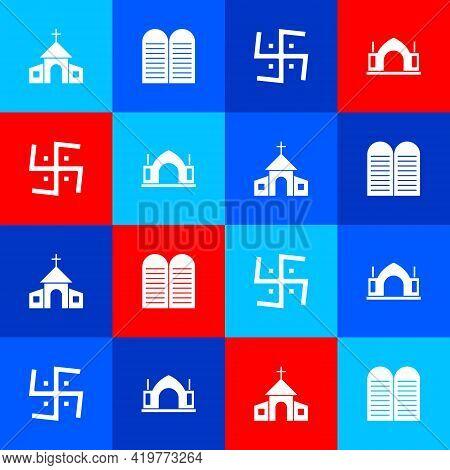 Set Church Building, The Commandments, Hindu Swastika And Spiritual Temple Icon. Vector