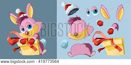 Cute Pink Rabbit In A New Year's Hat And A New Year's Gift. Set Of Body Parts. Cartoon Character. Cl