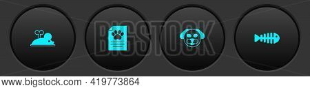 Set Clockwork Mouse, Clinical Record Pet, Dog And Fish Skeleton Icon. Vector
