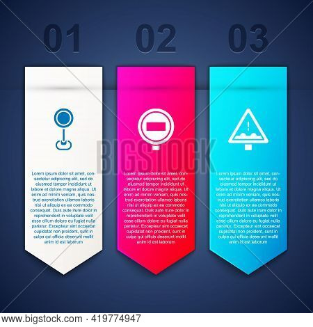 Set Road Traffic Sign, Stop And Uneven Road Ahead. Business Infographic Template. Vector