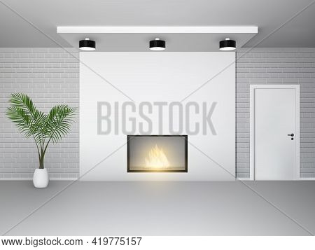 Fireplace Interior With Palm Tree White Door And Brick Wall Vector Illustration