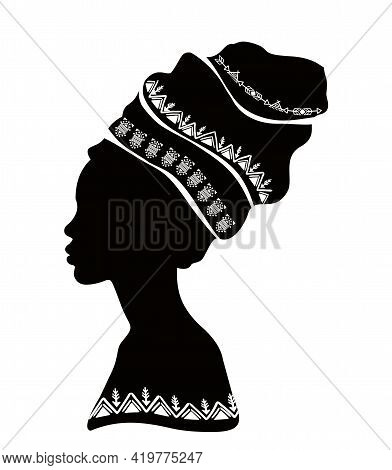 Vector Portrait Of A Beautiful African Woman In Traditional Turban, Kente Head Wraps, Black Afro Wom