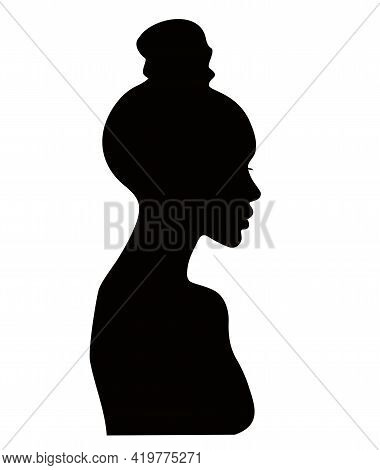 Female Hairstyle Bump. Woman Profile With Hair In A Bun, Black Silhouette. Girl With A Modern Hairst