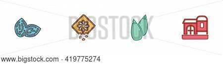 Set Seed, Pack Full Of Seeds Of Plant, And Farm House Icon. Vector