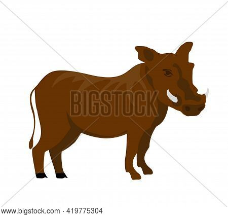 Cartoon Flat Warthog. Vector Illustration. Wild Boar. Drawing Animal For Children. Zoo For Kids.