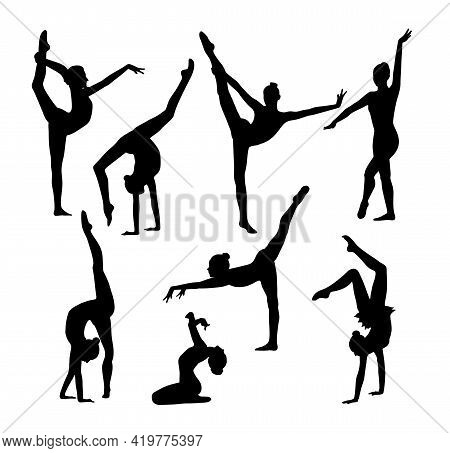Eight Black Figures Of Gymnasts On A White Background. Slim Sportive Woman Doing Yoga And Fitness Ex