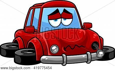 Sad Red Car Cartoon Character Crashed And Broken Vehicle. Raster Hand Drawn Illustration Isolated On