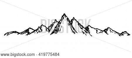 Hand-drawn Simple Sketch Vector Drawing. Mountain Range. Horizontal Mountain Landscape, Nature Of Mo