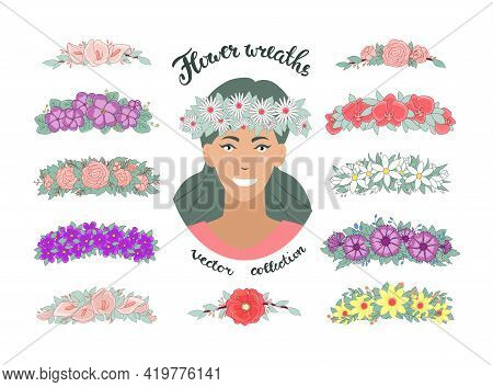 A Girl In A Daisy Wreath. Set Of Flower Tiaras With Roses, Calla Lilies, Orchids, Violets, Snowdrops