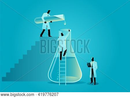 Vector Illustration Of Researchers Working With Laboratory Beaker And Glass Tube