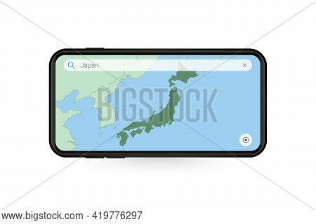 Searching Map Of Japan In Smartphone Map Application. Map Of Japan In Cell Phone. Vector Illustratio