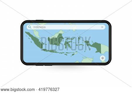 Searching Map Of Indonesia In Smartphone Map Application. Map Of Indonesia In Cell Phone. Vector Ill