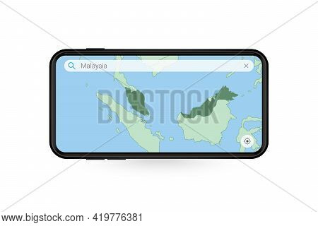 Searching Map Of Malaysia In Smartphone Map Application. Map Of Malaysia In Cell Phone. Vector Illus