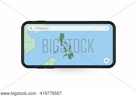 Searching Map Of Philippines In Smartphone Map Application. Map Of Philippines In Cell Phone. Vector