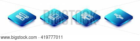 Set Isometric Line Multimedia And Tv Box, Flasher Siren, Smart Tv And Wrist Watch Icon. Vector