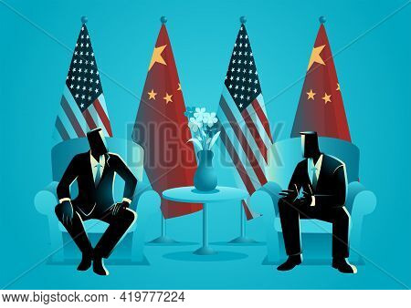 Vector Illustration Of Two Men Talking With Usa And People Republic Of China Flags Behind Them. Bila