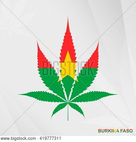 Flag Of Burkina Faso In Marijuana Leaf Shape. The Concept Of Legalization Cannabis In Burkina Faso.