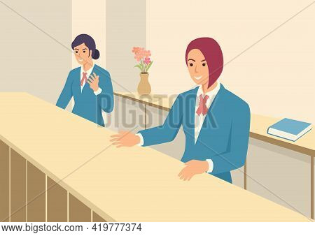Simple Flat Vector Illustration Of Women In Front Office With Uniform. Bank Teller. Customer Service