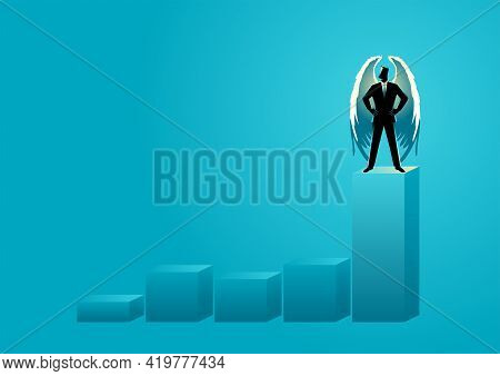 Business Concept Vector Illustration Of An Angel Businessman Standing On Highest Graphic Chart. Ange