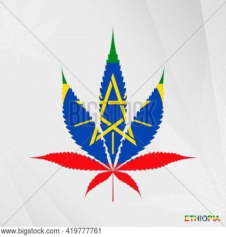 Flag Of Ethiopia In Marijuana Leaf Shape. The Concept Of Legalization Cannabis In Ethiopia. Medical