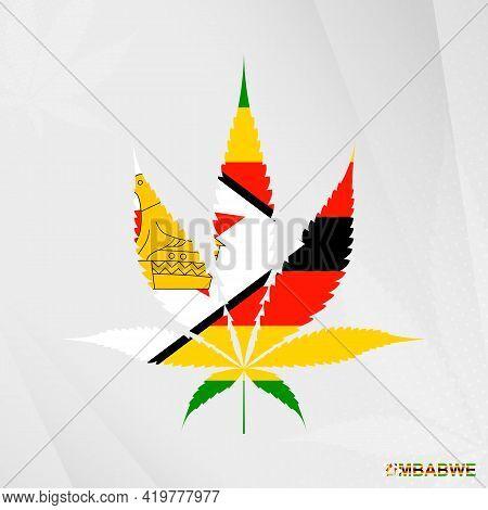 Flag Of Zimbabwe In Marijuana Leaf Shape. The Concept Of Legalization Cannabis In Zimbabwe. Medical