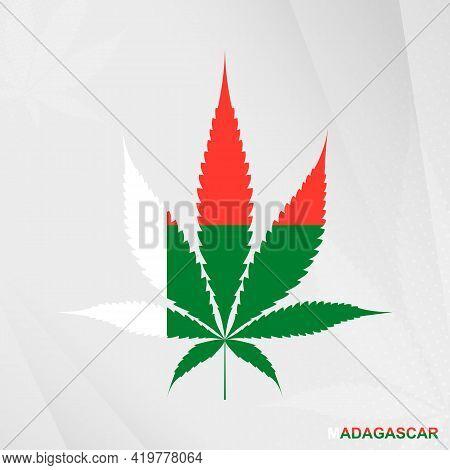 Flag Of Madagascar In Marijuana Leaf Shape. The Concept Of Legalization Cannabis In Madagascar. Medi