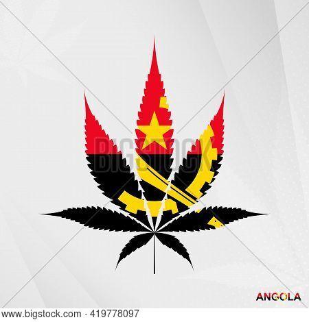 Flag Of Angola In Marijuana Leaf Shape. The Concept Of Legalization Cannabis In Angola. Medical Cann