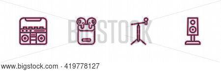 Set Line Home Stereo With Speakers, Microphone Stand, Air Headphones In Box And Stereo Icon. Vector