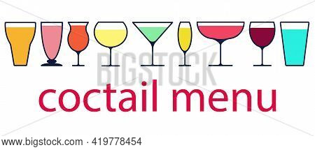Illustration Of Cocktail Glasses Flat Style Simple Colorful