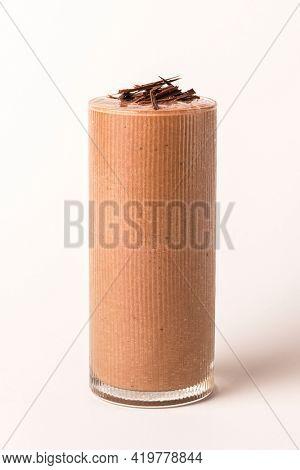 Shaved dark chocolate milkshake drink