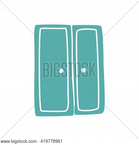 Green Closet For Things On A White Background. Isolated Element In Doodle Style.