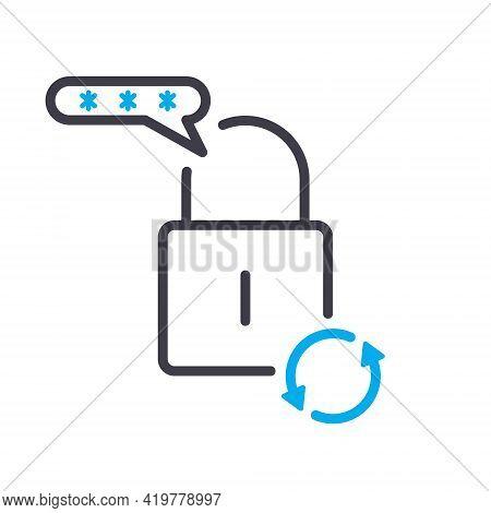 Change Password Linear Icon. Password Reset Line Icon. Circular Arrow. Lock Reload Concept. Update P
