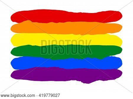 Lgbt Pride Flag Lesbian, Gay, Bisexual, Transgender. Rainbow Flag. Gay And Lesbian Love. Vector Stoc
