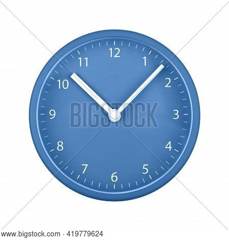 Close Up Blue Wall Clock Face Dial With Arabic Numerals, Hour And Minute Hands Isolated On White Bac