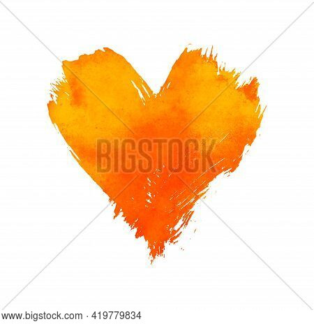 Yellow And Orange Vivid Watercolor Painted Heart With Brushstroke Grunge Shape And Paintbrush Textur