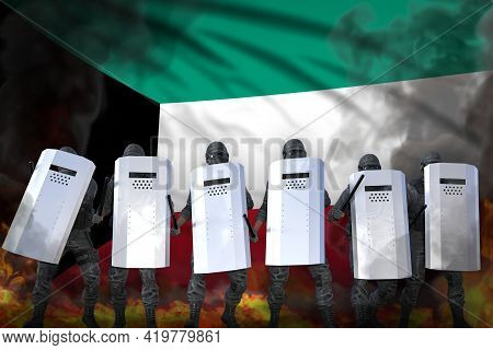 Kuwait Protest Fighting Concept, Police Swat In Heavy Smoke And Fire Protecting Law Against Disorder