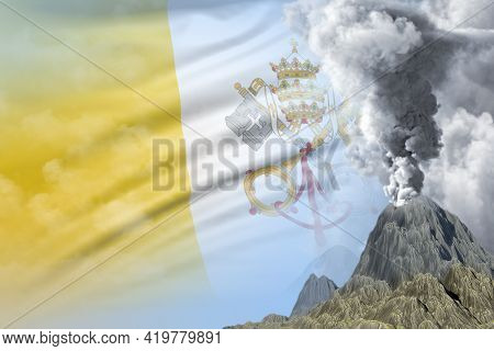 Conical Volcano Blast Eruption At Day Time With White Smoke On Holy See Flag Background, Suffer From