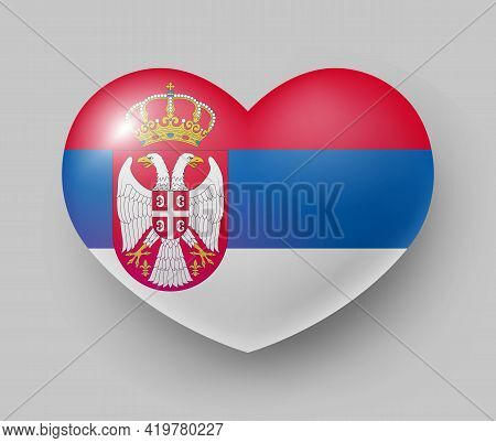 Heart Shaped Glossy National Flag Of Serbia. European Country National Flag Button, Serbian Symbol I