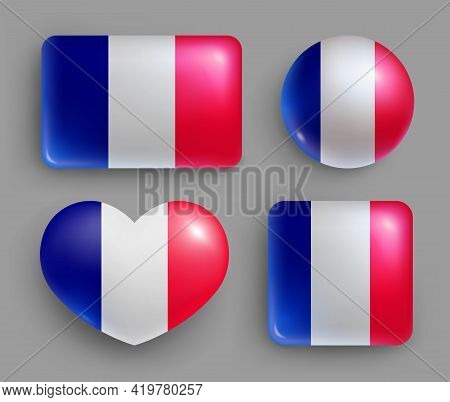 Glossy Buttons With France Country Flags Set. European Country National Flag Shiny Badges Of Differe