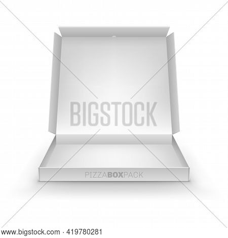 Front View Of Opened Pizza Box Pack Template. Blank White Cardboard Packaging With Open Cover, Pizza