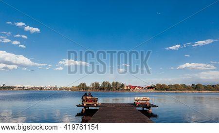 Wood masonry on the lake.
