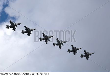 Moscow, Russia - May 7, 2021: Group Of Six Russian Military Tactical Frontline Bombers Su-25 Frogfoo