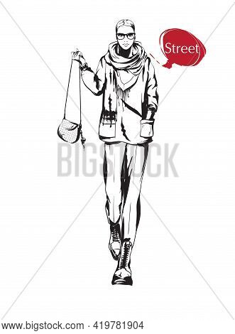Beautiful Young Woman In Spring Jacket. Hand Drawn Fashion Girl. Fashion Model Posing. Sketch. Vecto