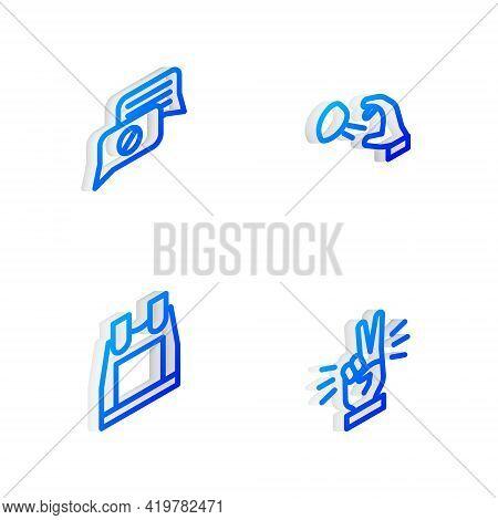 Set Isometric Line Hooligan Shooting Stones, Speech Bubble Chat, Bulletproof Vest And Hand Showing T