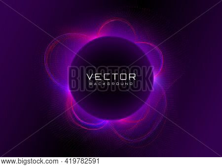Futuristic Background With Vivid Neon Blue Pink Light With Flares And Particles Behind The Black Cir