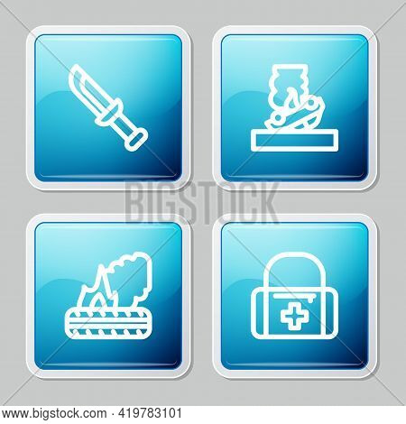 Set Line Military Knife, Burning Car, Lying Burning Tires And First Aid Kit Icon. Vector