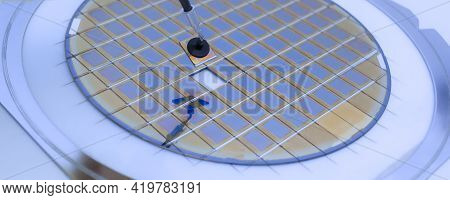 Silicon Wafer With Microchips Fixed In A Holder With A Steel Frame After The Dicing Process And Sepa