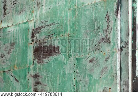 Grunge Oxidized Sheets Of Green Metal For Background Or Texture With Scratches And Cracks
