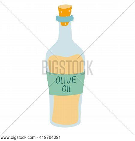 Bottle Of Olive Oil Icon. Bottle For Cooking. Flat Cartoon Vector Illustration Of Olive Oil Bottle F